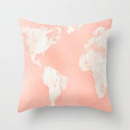 Pink Rose Gold World Map Throw Pillow