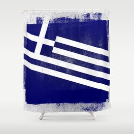 Greek Distressed Halftone Denim Flag Shower Curtain
