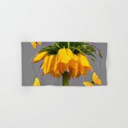 BUTTERFLIES YELLOW CROWN IMPERIAL FLOWERS Hand & Bath Towel