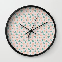 Light Peach and Teal Triangle Pattern Wall Clock