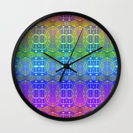 Glowing African Vintage Tribal Pink & Aqua Print Wall Clock