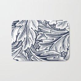 Scroll Leaves White & Navy Bath Mat