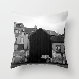 Cityscape and Houses of Brussels Throw Pillow