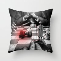 politics Throw Pillows featuring Medicine+Politics by Cleev