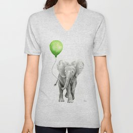 Baby Elephant with Green Balloon Unisex V-Neck
