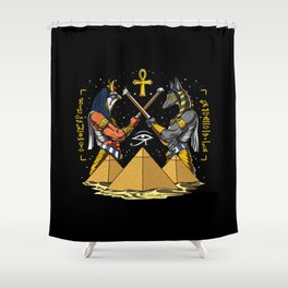 Anubis Horus Egyptian Gods Ankh Pyramids Shower Curtain