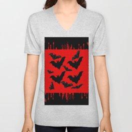 RED HALLOWEEN BATS ON BLEEDING RED ART DESIGN Unisex V-Neck