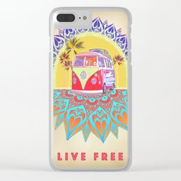 """BusLife Vintage Inspired """"Live Free"""" Poster print Clear iPhone Case"""