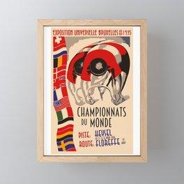 Retro cycling world championships 1935 Brussels Framed Mini Art Print