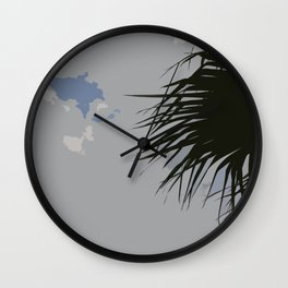 Cloudy Sky with Palm Tree Wall Clock
