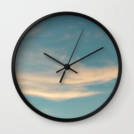 Teal Sky with Yellow Clouds Wall Clock