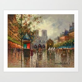 Cathedral Notre-Dame, Paris at Twilight by Antoine Blanchard Art Print