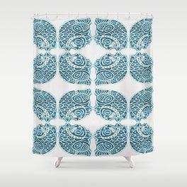 Bluefish Fish India Block Print Boho Shower Curtain