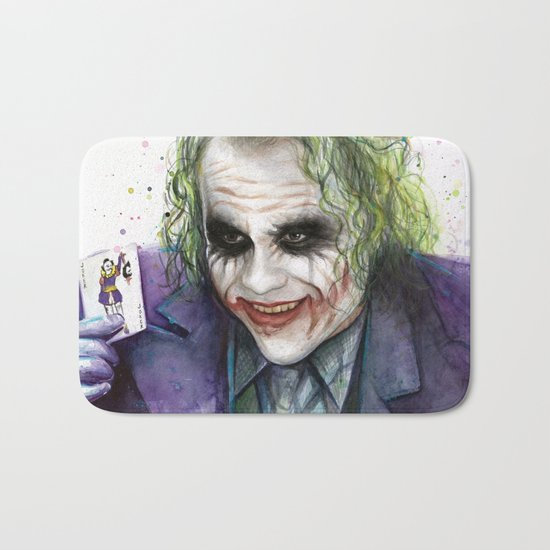 Joker Why So Serious Watercolor Bath Mat