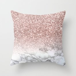 Sparkle - Glittery Rose Gold Marble Throw Pillow