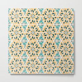 Hand Drawn Geometric Mosaic Pattern Design - Green and Yellow Metal Print