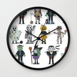 Halloween cute characters illustration Wall Clock