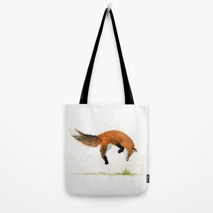 Jumping Jack Fox - animal watercolor painting Tote Bag