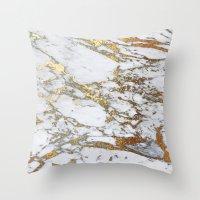 jenna kutcher Throw Pillows featuring Gold Marble by Jenna Davis Designs