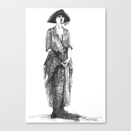 """Woman Wearing a Tri-Corner Hat"" Canvas Print"