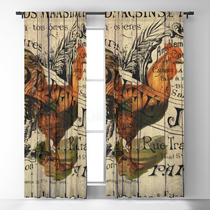 vintage typography barn wood shabby french country poulet chicken rooster Blackout Curtain