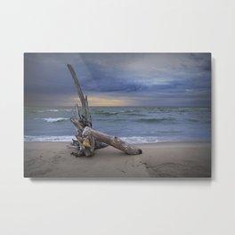 Sunrise on the Beach with Driftwood at Oscoda Michigan Metal Print