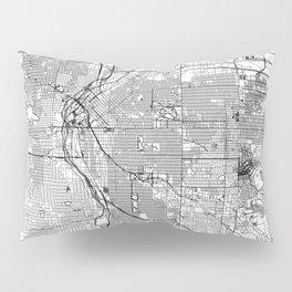 Denver White Map Pillow Sham