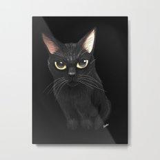 Black cat in black Metal Print