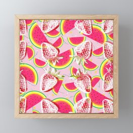 Strawberries Melon Fiesta Pattern Framed Mini Art Print