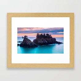 Sunset at Thunder Rock Cove, Oregon Framed Art Print