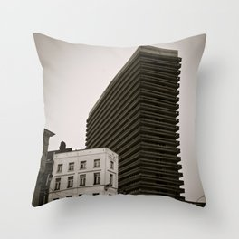 Surrealist City in Black and White Throw Pillow