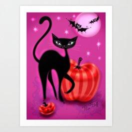 Black Cat with Bats and Pumpkin Art Print