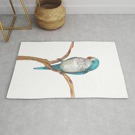 Blue quaker parrot watercolor Rug