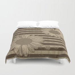 Beige Daisies with Stripes Duvet Cover