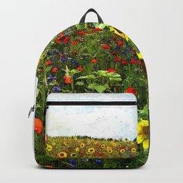 Field of Sunflowers, Bluebonnets, & Red Poppy floral portrait painting by J. Ferro & M. Bruggen  Backpack