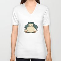 snorlax V-neck T-shirts featuring Snorlax by jeice27
