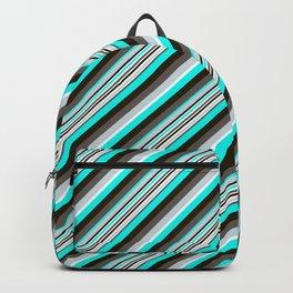 Blue Brown Black Inclined Stripes Backpack