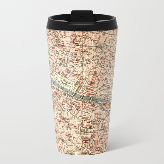 Vintage Map of Paris Metal Travel Mug