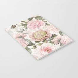 Vintage & Shabby Chic - Antique Pink Peony Flowers Garden Notebook