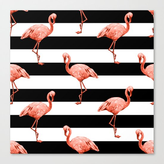 Simply Flamingo Deep Coral on Midnight Black Stripes Canvas Print