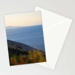 Boat sailing in the blue Aegean Sea between Santorini and Folegandros island | Cyclades, Greece Stationery Cards