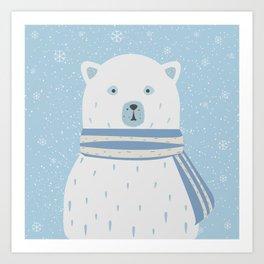 Polar White Bear with Scarf Art Print