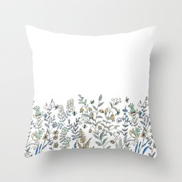 Watercolor pattern . The flowers of the field . 2 Throw Pillow