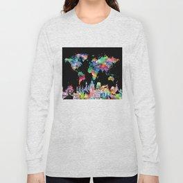 world map city skyline 3 Long Sleeve T-shirt
