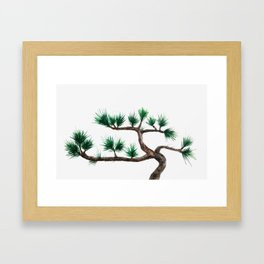 green pine tree painting Framed Art Print