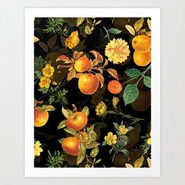 Vintage & Shabby Chic - Midnight Golden Apples Garden Art Print