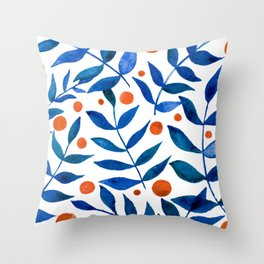 Watercolor berries and branches - blue and orange Throw Pillow