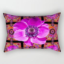 PURPLE ANEMONE FLOWER BLACK PATTERN Rectangular Pillow