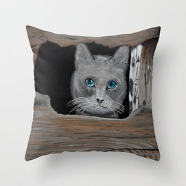 Cat in the hole Throw Pillow