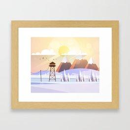 Vector Art Landscape with Fire Lookout Tower Framed Art Print